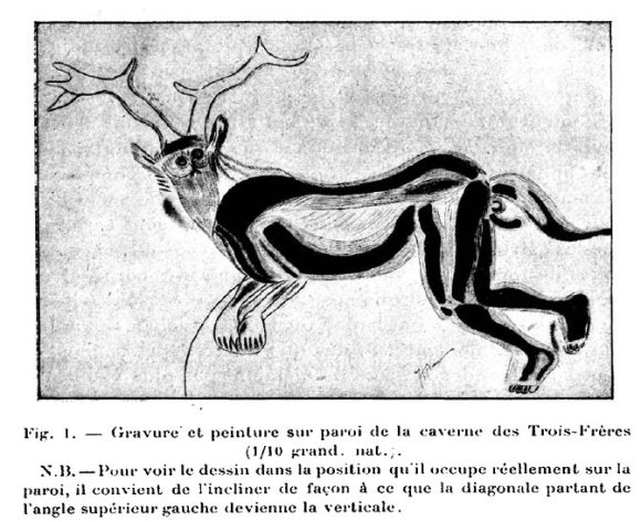 "This is the ""The Sorcerer"": from the original letter/article by the Abbe Breuil, the grand old man of Cro-Magnon art studies."
